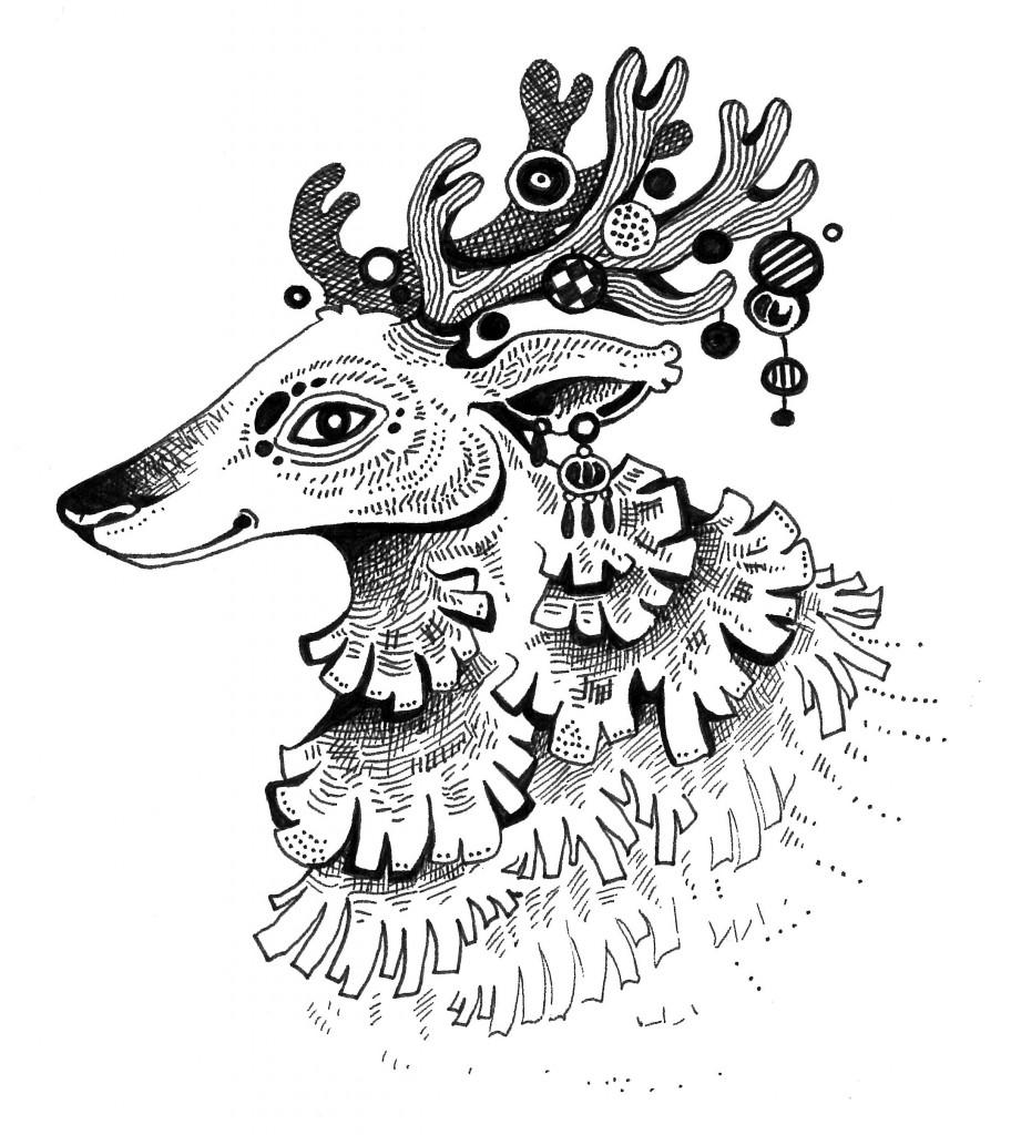 """En ole ikuisuuteen päivitelly blogia, ja tämän blogin nimen voisikin muuttaa """"laiskan naisen blogiksi"""". Mutta tässä poro joulun kunniaksi (piirsin sen junassa)."""